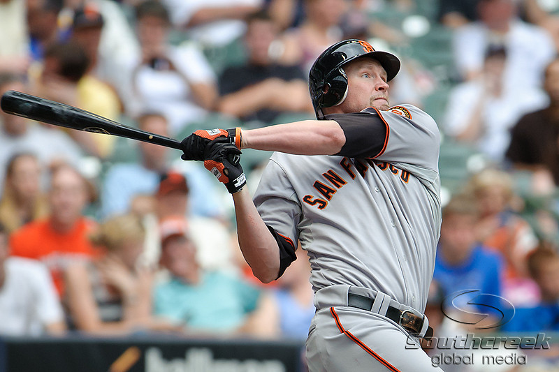5 July 2010:  San Francisco Giants left fielder Aubrey Huff (17) hits a foul ball during the game between the Milwaukee Brewers and San Francisco Giants at Miller Park in Milwaukee, Wisconsin.  The Giants defeated the Brewers 6-1.  Mandatory Credit: John Rowland / Southcreek Global