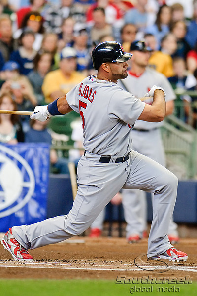 10 April 2010:  St. Louis Cardinals first baseman Albert Pujols (5) grounds out during the game between the St. Louis Cardinals and Milwaukee Brewers at Miller Park in Milwaukee.  The Cardinals defeated the Brewers 7-1.  Mandatory Credit: John Rowland / Southcreek Global