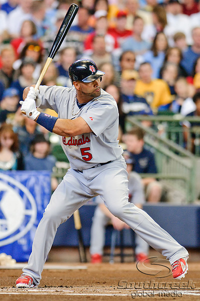 10 April 2010:  St. Louis Cardinals first baseman Albert Pujols (5) during the game between the St. Louis Cardinals and Milwaukee Brewers at Miller Park in Milwaukee.  The Cardinals defeated the Brewers 7-1.  Mandatory Credit: John Rowland / Southcreek Global