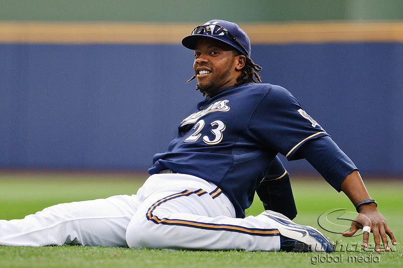 10 April 2010:   Milwaukee Brewers second baseman Rickie Weeks (23) warms up prior to the game between the St. Louis Cardinals and Milwaukee Brewers at Miller Park in Milwaukee.  The Cardinals defeated the Brewers 7-1.  Mandatory Credit: John Rowland / Southcreek Global