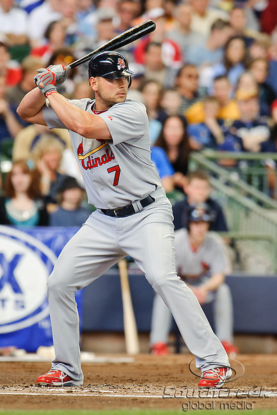 10 April 2010:  St. Louis Cardinals left fielder Matt Holliday (7) during the game between the St. Louis Cardinals and Milwaukee Brewers at Miller Park in Milwaukee.  The Cardinals defeated the Brewers 7-1.  Mandatory Credit: John Rowland / Southcreek Global