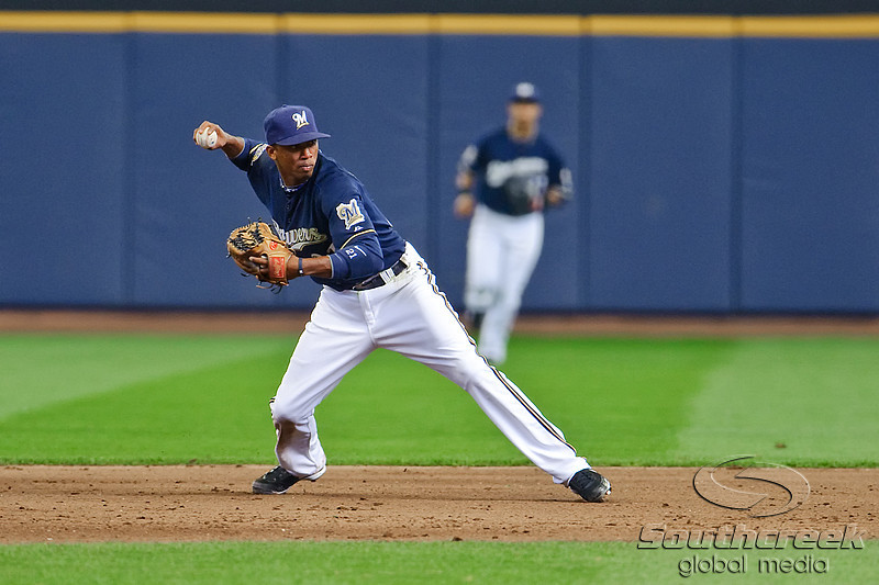 10 April 2010:  Milwaukee Brewers shortstop Alcides Escobar (21) throws to first for the out during the game between the St. Louis Cardinals and Milwaukee Brewers at Miller Park in Milwaukee.  The Cardinals defeated the Brewers 7-1.  Mandatory Credit: John Rowland / Southcreek Global