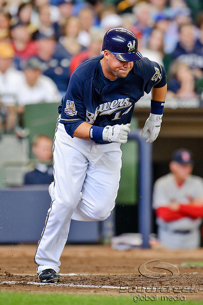 10 April 2010:  Milwaukee Brewers third baseman Casey McGehee (14) during the game between the St. Louis Cardinals and Milwaukee Brewers at Miller Park in Milwaukee.  The Cardinals defeated the Brewers 7-1.  Mandatory Credit: John Rowland / Southcreek Global