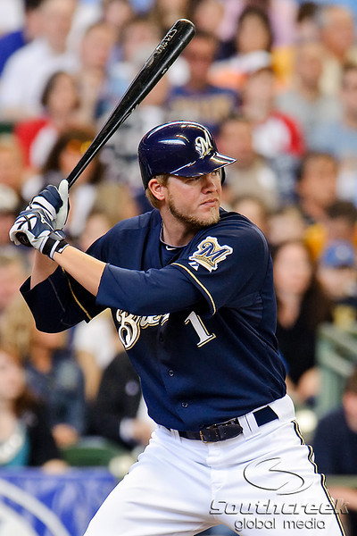 10 April 2010:  Milwaukee Brewers right fielder Corey Hart (1) at the plate during the game between the St. Louis Cardinals and Milwaukee Brewers at Miller Park in Milwaukee.  The Cardinals defeated the Brewers 7-1.  Mandatory Credit: John Rowland / Southcreek Global