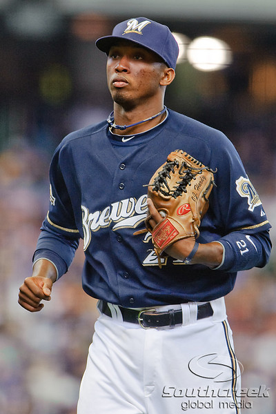 10 April 2010:   Milwaukee Brewers shortstop Alcides Escobar (21) returns to the dugout during the game between the St. Louis Cardinals and Milwaukee Brewers at Miller Park in Milwaukee.  The Cardinals defeated the Brewers 7-1.  Mandatory Credit: John Rowland / Southcreek Global
