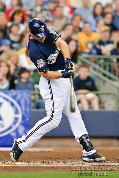 10 April 2010:   Milwaukee Brewers left fielder Ryan Braun (8) connects at the plate during the game between the St. Louis Cardinals and Milwaukee Brewers at Miller Park in Milwaukee.  The Cardinals defeated the Brewers 7-1.  Mandatory Credit: John Rowland / Southcreek Global