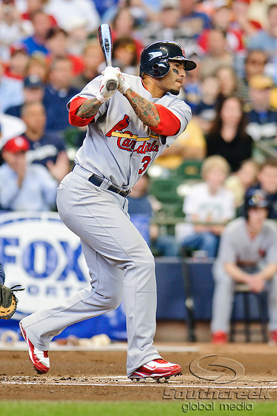 10 April 2010:   St. Louis Cardinals shortstop Felipe Lopez (3) during the game between the St. Louis Cardinals and Milwaukee Brewers at Miller Park in Milwaukee.  The Cardinals defeated the Brewers 7-1.  Mandatory Credit: John Rowland / Southcreek Global
