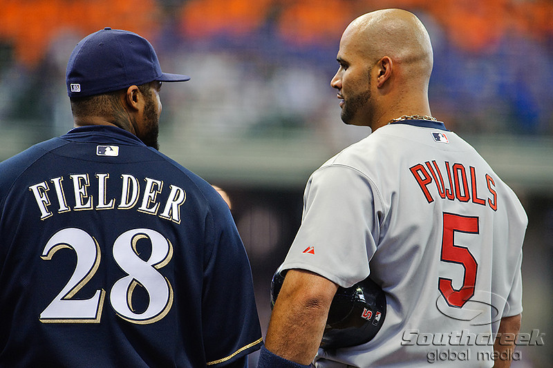 10 April 2010:  St. Louis Cardinals first baseman Albert Pujols (5) and Milwaukee Brewers first baseman Prince Fielder (28) chat at first base after Pujols singled during the game between the St. Louis Cardinals and Milwaukee Brewers at Miller Park in Milwaukee.  The Cardinals defeated the Brewers 7-1.  Mandatory Credit: John Rowland / Southcreek Global