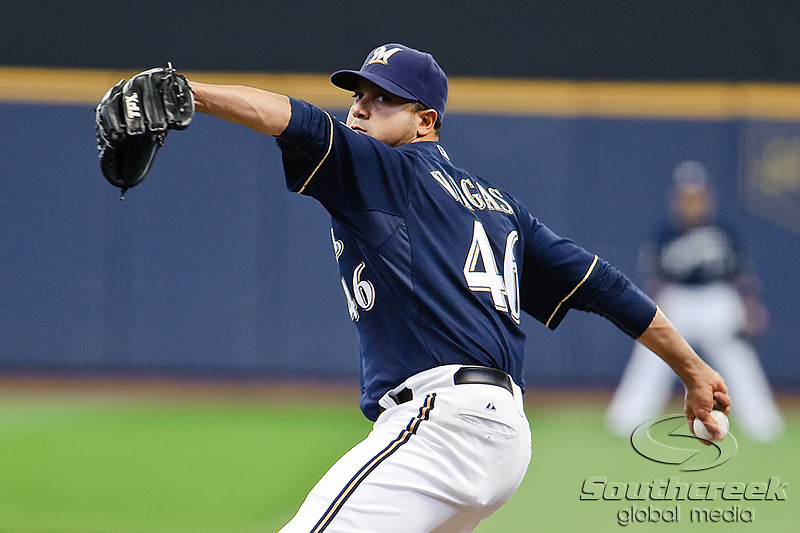 10 April 2010:  Milwaukee Brewers relief pitcher Claudio Vargas (46) during the game between the St. Louis Cardinals and Milwaukee Brewers at Miller Park in Milwaukee.  The Cardinals defeated the Brewers 7-1.  Mandatory Credit: John Rowland / Southcreek Global
