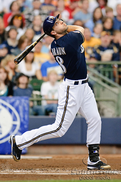 10 April 2010:   Milwaukee Brewers left fielder Ryan Braun (8) follows his pop foul during the game between the St. Louis Cardinals and Milwaukee Brewers at Miller Park in Milwaukee.  The Cardinals defeated the Brewers 7-1.  Mandatory Credit: John Rowland / Southcreek Global