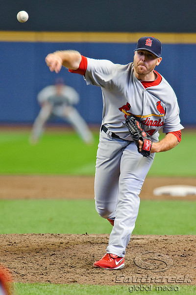 10 April 2010:  St. Louis Cardinals relief pitcher Mitchell Boggs (41) during the game between the St. Louis Cardinals and Milwaukee Brewers at Miller Park in Milwaukee.  The Cardinals defeated the Brewers 7-1.  Mandatory Credit: John Rowland / Southcreek Global