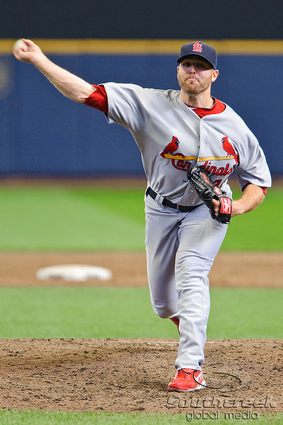 10 April 2010:  St. Louis Cardinals relief pitcher Mitchell Boggs (41) delivers during the game between the St. Louis Cardinals and Milwaukee Brewers at Miller Park in Milwaukee.  The Cardinals defeated the Brewers 7-1.  Mandatory Credit: John Rowland / Southcreek Global