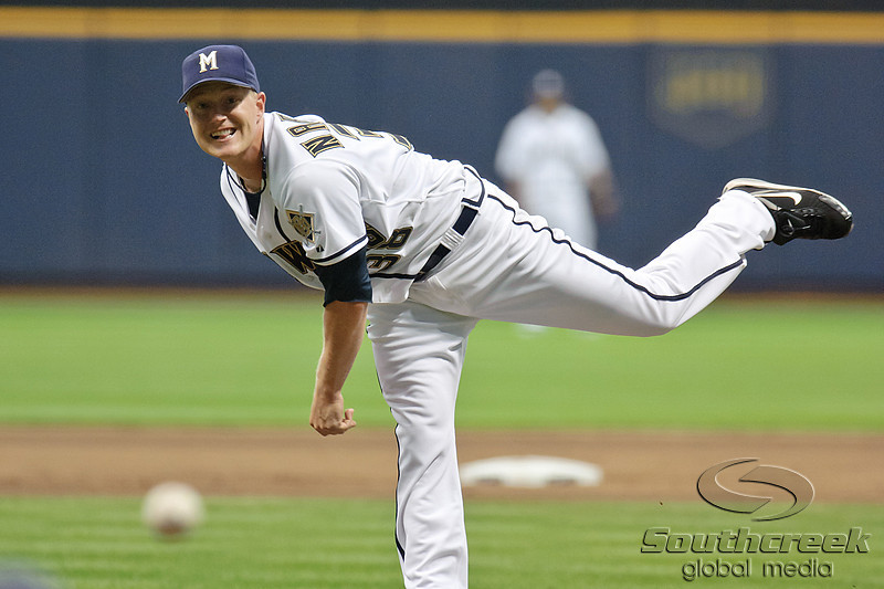 23 July 2010:  Milwaukee Brewers starting pitcher Chris Narveson (38) throws to the plate during the game between the Milwaukee Brewers and Washington Nationals at Miller Park in Milwaukee, Wisconsin.  The Brewers defeated the Nationals 7-5.  Mandatory Credit: John Rowland / Southcreek Global