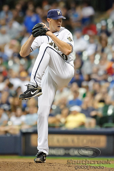 23 July 2010:  Milwaukee Brewers relief pitcher Kameron Loe (50) during the game between the Milwaukee Brewers and Washington Nationals at Miller Park in Milwaukee, Wisconsin.  The Brewers defeated the Nationals 7-5.  Mandatory Credit: John Rowland / Southcreek Global