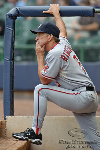 23 July 2010:  Washington Nationals manager Jim Riggleman (5) prior to the start of the game between the Milwaukee Brewers and Washington Nationals at Miller Park in Milwaukee, Wisconsin.  The Brewers defeated the Nationals 7-5.  Mandatory Credit: John Rowland / Southcreek Global