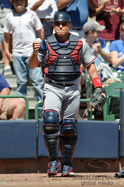 25 July 2010:  Washington Nationals catcher Ivan Rodgriguez (7) returns to the plate after chasing down a wild pitch during the first inning of the game between the Milwaukee Brewers and Washington Nationals at Miller Park in Milwaukee, Wisconsin.  The Brewers defeated the Nationals 8-3 to sweep the three game series.  Mandatory Credit: John Rowland / Southcreek Global