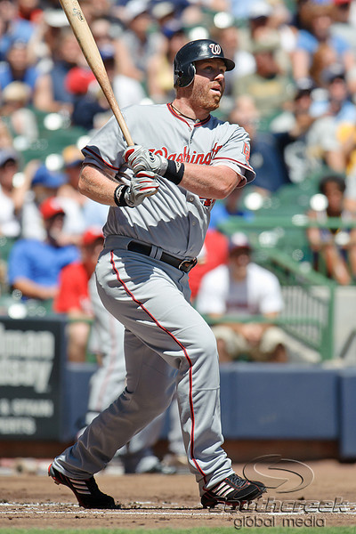 25 July 2010:  Washington Nationals first baseman Adam Dunn (44) watches his long drive curve foul during the first inning of the game between the Milwaukee Brewers and Washington Nationals at Miller Park in Milwaukee, Wisconsin.  The Brewers defeated the Nationals 8-3 to sweep the three game series.  Mandatory Credit: John Rowland / Southcreek Global