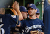 25 July 2010:  Milwaukee Brewers starting pitcher Dave Bush (31) is congratulated by teammates after being relieved in the 7th inning of the game between the Milwaukee Brewers and Washington Nationals at Miller Park in Milwaukee, Wisconsin.  The Brewers defeated the Nationals 8-3 to sweep the three game series.  Mandatory Credit: John Rowland / Southcreek Global