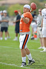 5 August 2010:  Chicago Bears quarterback Caleb Hanie (12) sets to throw during the Bears training camp practice at Olivet Nazarene University in Bourbonnais, IL.<br /> Mandatory Credit - John Rowland / Southcreek Global
