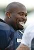 5 August 2010:  Chicago Bears defensive lineman Israel Idonije (71) laughs with teammates prior to the Bears training camp practice at Olivet Nazarene University in Bourbonnais, IL.<br /> Mandatory Credit - John Rowland / Southcreek Global