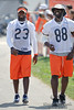 5 August 2010:  Chicago Bears wide receiver Devin Hester (23) and tight end Desmond Clark (88) head out to the field for the training camp practice at Olivet Nazarene University in Bourbonnais, IL.<br /> Mandatory Credit - John Rowland / Southcreek Global