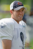 5 August 2010:  Chicago Bears placekicker Robbie Gould (9) laughs with a teammate during the Bears training camp practice at Olivet Nazarene University in Bourbonnais, IL.<br /> Mandatory Credit - John Rowland / Southcreek Global