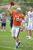 5 August 2010:  Chicago Bears quarterback Caleb Hanie (12) throws a pass during the Bears training camp practice at Olivet Nazarene University in Bourbonnais, IL.<br /> Mandatory Credit - John Rowland / Southcreek Global