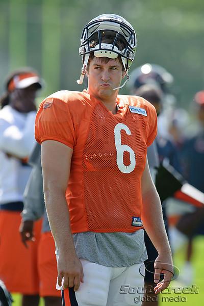 5 August 2010:  Chicago Bears quarterback Jay Cutler (6) during the Bears training camp practice at Olivet Nazarene University in Bourbonnais, IL.<br /> Mandatory Credit - John Rowland / Southcreek Global