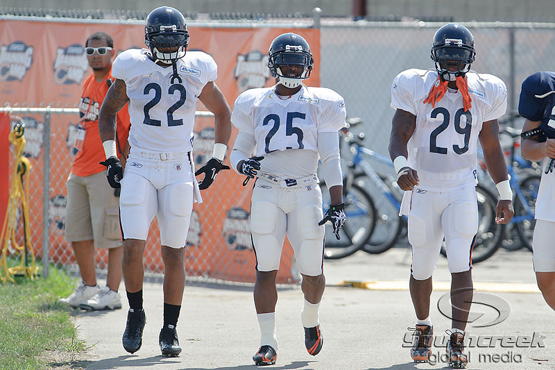5 August 2010:  Chicago Bears running backs Matt Forte (22), Garrett Wolfe (25), and Chester Taylor (29) head to the field for the training camp practice at Olivet Nazarene University in Bourbonnais, IL.<br /> Mandatory Credit - John Rowland / Southcreek Global