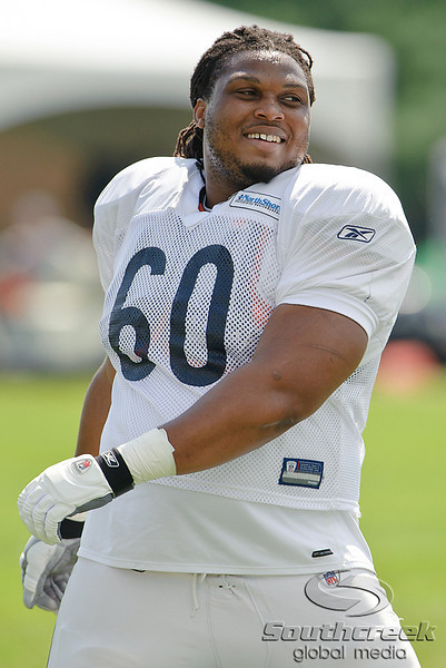 5 August 2010:  Chicago Bears offensive guard Lance Louis (60) during the Bears training camp practice at Olivet Nazarene University in Bourbonnais, IL.<br /> Mandatory Credit - John Rowland / Southcreek Global