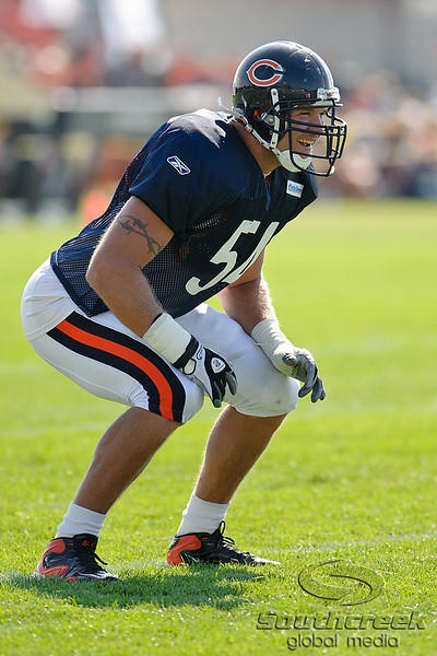 5 August 2010:  Chicago Bears linebacker Brian Urlacher (54) waits for the snap during the Bears training camp practice at Olivet Nazarene University in Bourbonnais, IL.<br /> Mandatory Credit - John Rowland / Southcreek Global