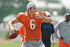 5 August 2010:  Chicago Bears quarterback Jay Cutler (6) throws a pass during warmups of the Bears training camp practice at Olivet Nazarene University in Bourbonnais, IL.<br /> Mandatory Credit - John Rowland / Southcreek Global
