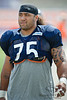 5 August 2010:  Chicago Bears defensive tackle Matt Toeaina (75) heads to the field for the training camp practice at Olivet Nazarene University in Bourbonnais, IL.<br /> Mandatory Credit - John Rowland / Southcreek Global