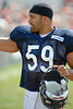5 August 2010:  Chicago Bears linebacker Pisa Tinoisamoa (59) heads to the field for the training camp practice at Olivet Nazarene University in Bourbonnais, IL.<br /> Mandatory Credit - John Rowland / Southcreek Global