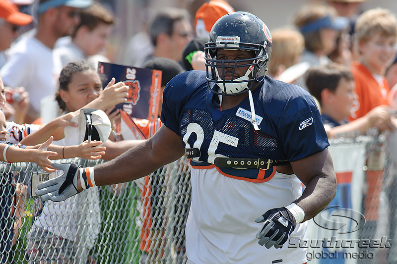 5 August 2010:  Chicago Bears defensive tackle Anthony Adams (95) heads to the field for the Bears training camp practice at Olivet Nazarene University in Bourbonnais, IL.<br /> Mandatory Credit - John Rowland / Southcreek Global