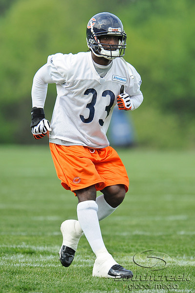 21 May 2010:  Cornerback Charles Tillman (33) backpedals during the Chicago Bears minicamp practice at Halas Hall in Lake Forest, Illinois.<br /> Mandatory Credit - John Rowland / Southcreek Global
