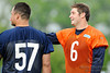 21 May 2010:  Quarterback Jay Cutler (6) and center Olin Kreutz (57) share a laugh during the Chicago Bears minicamp practice at Halas Hall in Lake Forest, Illinois.<br /> Mandatory Credit - John Rowland / Southcreek Global
