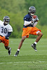 21 May 2010:  Wide receiver Devin Aromashodu (19) hauls in a pass in front of cornerback D.J. Moore (30) during the Chicago Bears minicamp practice at Halas Hall in Lake Forest, Illinois.<br /> Mandatory Credit - John Rowland / Southcreek Global