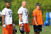 21 May 2010:  Lance Briggs (55) and Brian Urlacher (54) watch the action with linebackers coach Bob Babich during the Chicago Bears minicamp practice at Halas Hall in Lake Forest, Illinois.<br /> Mandatory Credit - John Rowland / Southcreek Global