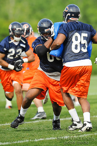 21 May 2010:  Offensive tackle Frank Omiyale (68) blocks during the Chicago Bears minicamp practice at Halas Hall in Lake Forest, Illinois.<br /> Mandatory Credit - John Rowland / Southcreek Global
