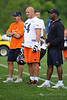 21 May 2010:  Linebacker Brian Urlacher (54) watches the action with Bob Babich and Head Coach Lovie Smith during the Chicago Bears minicamp practice at Halas Hall in Lake Forest, Illinois.<br /> Mandatory Credit - John Rowland / Southcreek Global
