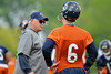 21 May 2010:  Offensive Coordinator Mike Martz and quarterback Jay Cutler (6) talk things over during the Chicago Bears minicamp practice at Halas Hall in Lake Forest, Illinois.<br /> Mandatory Credit - John Rowland / Southcreek Global