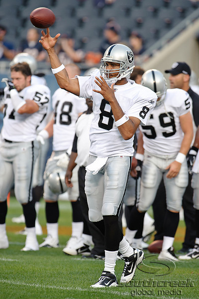 Oakland Raiders quarterback Jason Campbell (8) throws a pass before the preseason game between the Chicago Bears and the Oakland Raiders at Soldier Field in Chicago, IL. The Raiders defeated the Bears 32-17. <br /> Mandatory Credit: John Rowland / Southcreek Global