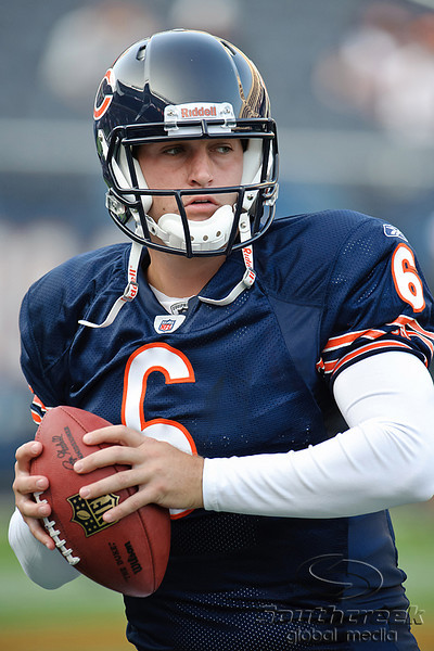 Chicago Bears quarterback Jay Cutler (6) warms up before the preseason game between the Chicago Bears and the Oakland Raiders at Soldier Field in Chicago, IL. The Raiders defeated the Bears 32-17. <br /> Mandatory Credit: John Rowland / Southcreek Global