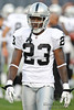 Oakland Raiders cornerback Jeremy Ware (23) before the preseason game between the Chicago Bears and the Oakland Raiders at Soldier Field in Chicago, IL. The Raiders defeated the Bears 32-17. <br /> Mandatory Credit: John Rowland / Southcreek Global
