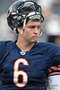 Chicago Bears quarterback Jay Cutler (6) before the preseason game between the Chicago Bears and the Oakland Raiders at Soldier Field in Chicago, IL. The Raiders defeated the Bears 32-17. <br /> Mandatory Credit: John Rowland / Southcreek Global