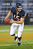 Chicago Bears quarterback Dan LeFevour (15) scrambles out of the pocket during the preseason game between the Chicago Bears and the Oakland Raiders at Soldier Field in Chicago, IL. The Raiders defeated the Bears 32-17. <br /> Mandatory Credit: John Rowland / Southcreek Global