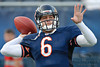 Chicago Bears quarterback Jay Cutler (6) throws a pass before the preseason game between the Chicago Bears and the Oakland Raiders at Soldier Field in Chicago, IL. The Raiders defeated the Bears 32-17. <br /> Mandatory Credit: John Rowland / Southcreek Global