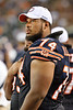 Chicago Bears offensive tackle Chris Williams (74) watches a replay on the scoreboard during the preseason game between the Chicago Bears and the Oakland Raiders at Soldier Field in Chicago, IL. The Raiders defeated the Bears 32-17. <br /> Mandatory Credit: John Rowland / Southcreek Global