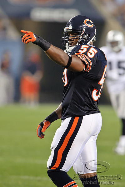 Chicago Bears linebacker Lance Briggs (55) during the preseason game between the Chicago Bears and the Oakland Raiders at Soldier Field in Chicago, IL. The Raiders defeated the Bears 32-17. <br /> Mandatory Credit: John Rowland / Southcreek Global